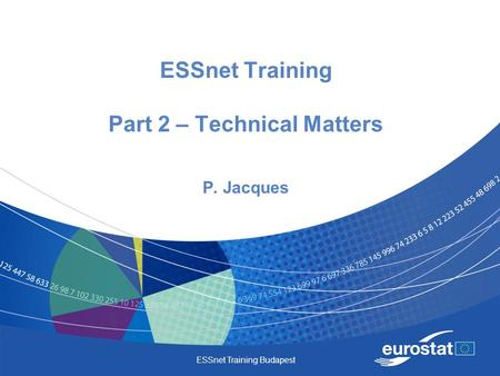 ESSnet Training Budapest ESSnet Training Part 2 – Technical Matters P. Jacques.
