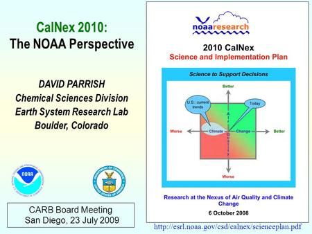 CARB Board Meeting San Diego, 23 July 2009 DAVID PARRISH Chemical Sciences Division Earth System Research.