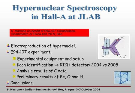  Electroproduction of hypernuclei. E94-107 experiment.  Experimental equipment and setup Kaon identification  RICH detector: 2004 vs 2005 Analysis results.