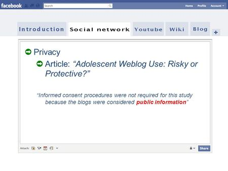 "➲ Privacy ➲ Article: ""Adolescent Weblog Use: Risky or Protective?"" ""Informed consent procedures were not required for this study because the blogs were."
