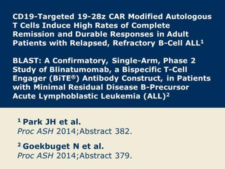 CD19-Targeted 19-28z CAR Modified Autologous T Cells Induce High Rates of Complete Remission and Durable Responses in Adult Patients with Relapsed, Refractory.