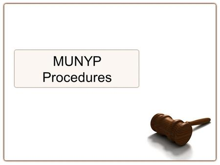 MUNYP Procedures.