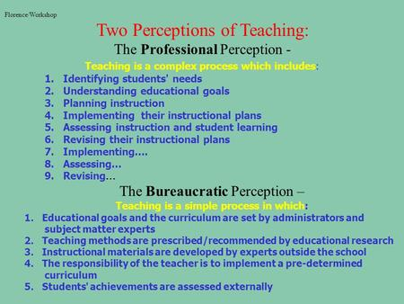 Florence/Workshop Two Perceptions of Teaching: The Professional Perception - Teaching is a complex process which includes: 1. Identifying students' needs.