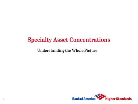 Specialty Asset Concentrations Understanding the Whole Picture 1.