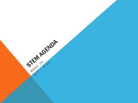 STEM AGENDA WEEK 19 1/7 – 1/11. AGENDA 1/7 Learning Target: To determine when and why we use various mechanisms. Finish Mechanisms: Build, Cut & Past,