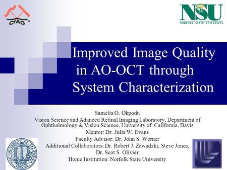 Improved Image Quality in AO-OCT through System Characterization Samelia O. Okpodu Vision Science and Adanced Retinal Imaging Laboratory, Department of.