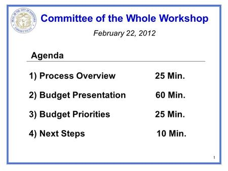 Agenda 1) Process Overview 25 Min. 2) Budget Presentation 60 Min. 3) Budget Priorities 25 Min. 4) Next Steps 10 Min. Committee of the Whole Workshop February.