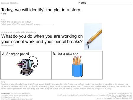 1 st Grade Literary Analysis 3.1 Identify and describe the elements of plot, setting, and character(s) in a story, as well as the story's beginning, middle,