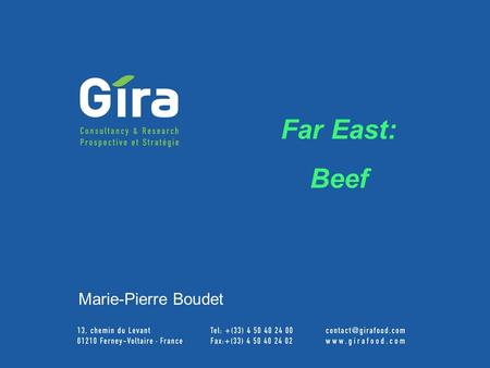 GIRA Meat Club 2003 Far East: Beef Marie-Pierre Boudet.