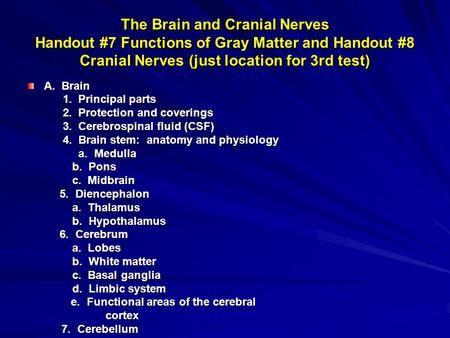 The Brain and Cranial Nerves Handout #7 Functions of Gray Matter and Handout #8 Cranial Nerves (just location for 3rd test) A. Brain 1. Principal parts.