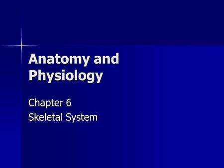 Anatomy and Physiology Chapter 6 Skeletal System.
