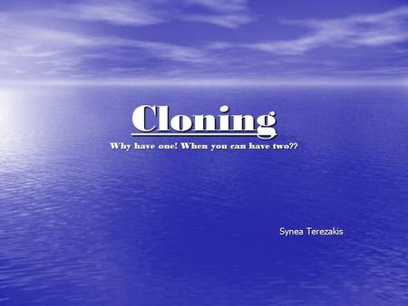 Cloning Why have one! When you can have two?? Synea Terezakis.