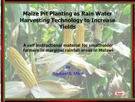 Maize Pit Planting as Rain Water Harvesting Technology to Increase Yields A self instructional material for smallholder farmers in marginal rainfall areas.