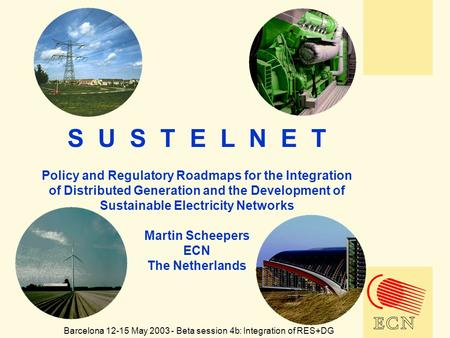 S U S T E L N E T Policy and Regulatory Roadmaps for the Integration of Distributed Generation and the Development of Sustainable Electricity Networks.