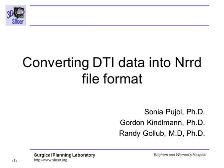 Surgical Planning Laboratory  -1- Brigham and Women's Hospital Converting DTI data into Nrrd file format Sonia Pujol, Ph.D. Gordon.