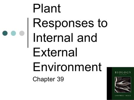 Plant Responses to Internal and External Environment Chapter 39.