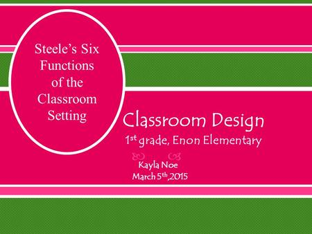  Classroom Design 1 st grade, Enon Elementary Kayla Noe March 5 th,2015 Steele's Six Functions of the Classroom Setting.
