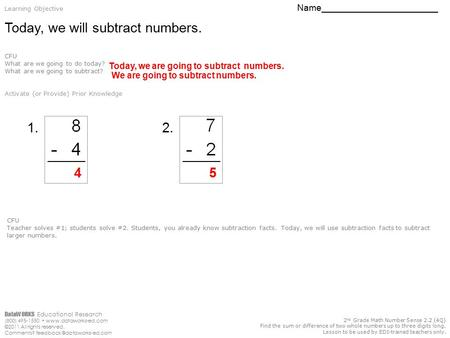 DataWORKS Educational Research (800) 495-1550  ©2011 All rights reserved. Comments? 2 nd Grade Math Number.