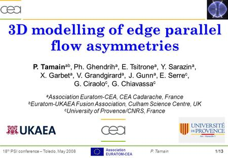 1/1318 th PSI conference – Toledo, May 2008P. Tamain Association EURATOM-CEA 3D modelling of edge parallel flow asymmetries P. Tamain ab, Ph. Ghendrih.