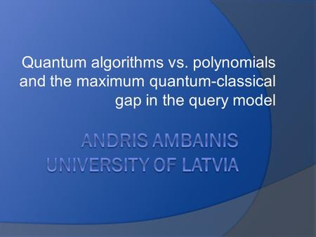 Quantum algorithms vs. polynomials and the maximum quantum-classical gap in the query model.