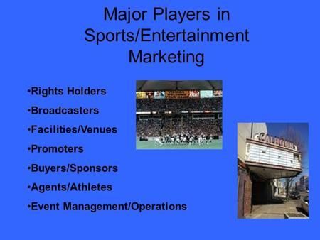 Major Players in Sports/Entertainment Marketing Rights Holders Broadcasters Facilities/Venues Promoters Buyers/Sponsors Agents/Athletes Event Management/Operations.