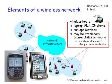6: Wireless and Mobile Networks6-1 Elements of a wireless network network infrastructure wireless hosts r laptop, PDA, IP phone r run applications r may.