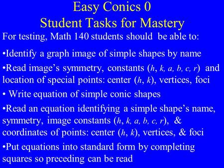 Easy Conics 0 Student Tasks for Mastery For testing, Math 140 students should be able to: Identify a graph image of simple shapes by name Read image's.