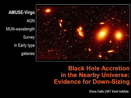 AMUSE-Virgo AGN MUlti-wavelength Survey in Early type galaxies Black Hole Accretion in the Nearby Universe: Evidence for Down-Sizing Elena Gallo | MIT.