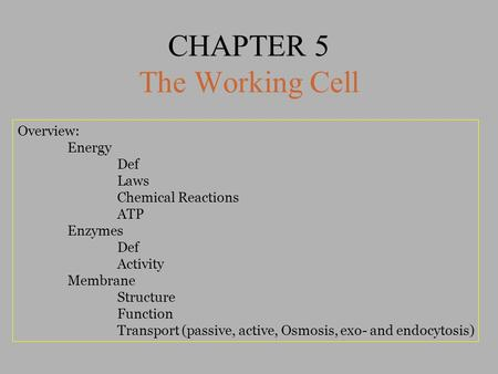 CHAPTER 5 The Working Cell Overview: Energy Def Laws Chemical Reactions ATP Enzymes Def Activity Membrane Structure Function Transport (passive, active,