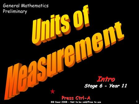 1 Press Ctrl-A ©G Dear 2008 – Not to be sold/Free to use Intro Stage 6 - Year 11 General Mathematics Preliminary.