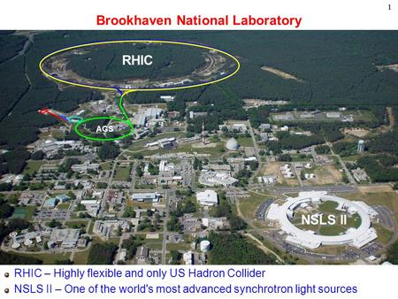 11 Brookhaven National Laboratory RHIC – Highly flexible and only US Hadron Collider NSLS II – One of the world's most advanced synchrotron light sources.