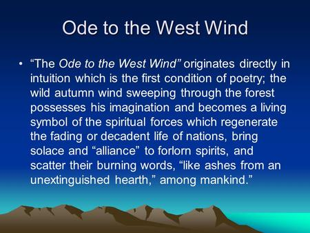 essay about ode to the west wind