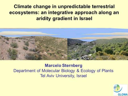 Climate change in unpredictable terrestrial ecosystems: an integrative approach along an aridity gradient in Israel Marcelo Sternberg Department of Molecular.