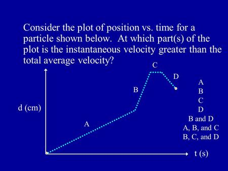 Consider the plot of position vs. time for a particle shown below. At which part(s) of the plot is the instantaneous velocity greater than the total average.