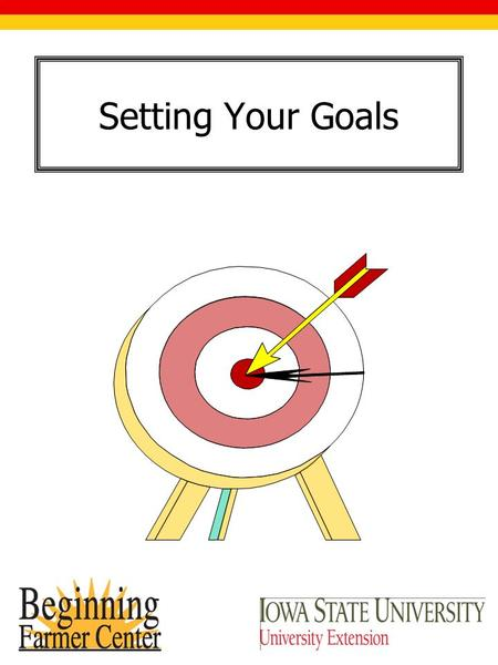 Setting Your Goals. Setting the Guideposts Goal Setting is: Identification of Values Creating a Vision Establishing a Mission By translating Values, Vision.