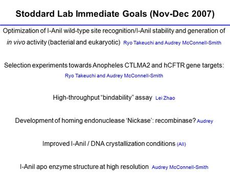 Stoddard Lab Immediate Goals (Nov-Dec 2007) Optimization of I-AniI wild-type site recognition/I-AniI stability and generation of in vivo activity (bacterial.