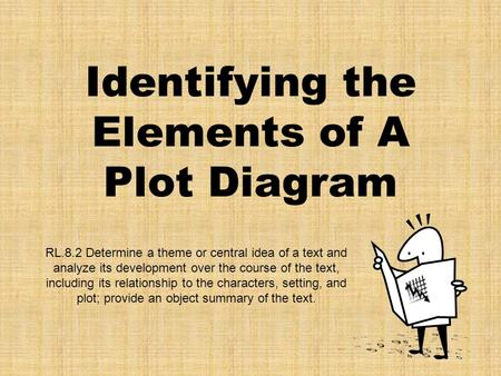 Identifying the Elements of A Plot Diagram RL.8.2 Determine a theme or central idea of a text and analyze its development over the course of the text,