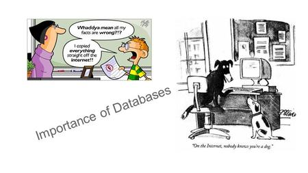 Importance of Databases. Information Literacy Information literacy is a set of abilities requiring individuals to recognize when information is needed.