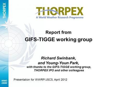 Report from GIFS-TIGGE working group Richard Swinbank, and Young-Youn Park, with thanks to the GIFS-TIGGE working group, THORPEX IPO and other colleagues.