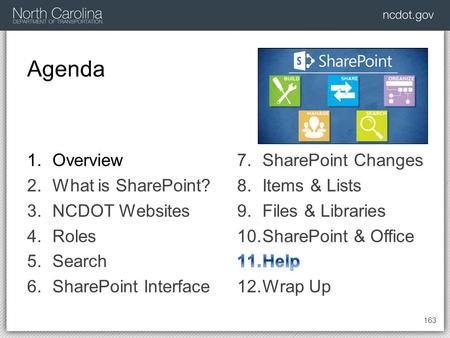 Agenda 163 1.Overview 2.What is SharePoint? 3.NCDOT Websites 4.Roles 5.Search 6.SharePoint Interface.