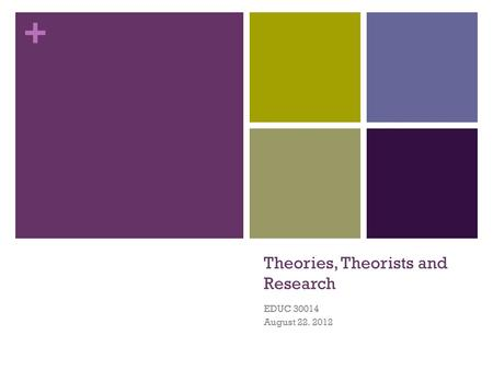 + Theories, Theorists and Research EDUC 30014 August 22. 2012.