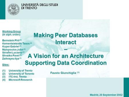 Making Peer Databases Interact – A Vision for an Architecture Supporting Data Coordination Working Group (in alph. order): Bernstein Phil (4) Kementsietsidis.