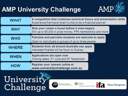 Page 1 WHAT WHY WHO WHERE WHEN HOW Students from all around Australia can apply Interstate finalists will be flown to Sydney Full-time and part-time students.