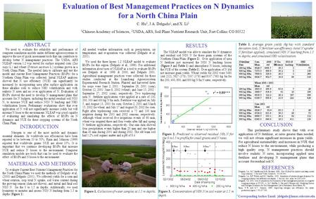 Figure 3. Concentration of NO3 N in soil water at 1.5 m depth. Evaluation of Best Management Practices on N Dynamics for a North China Plain C. Hu 1, J.A.