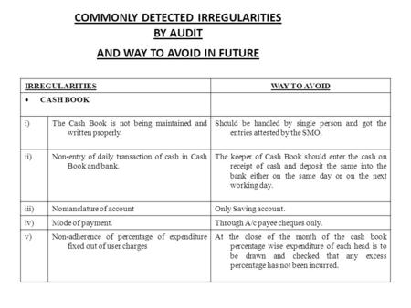 COMMONLY DETECTED IRREGULARITIES BY AUDIT AND WAY TO AVOID IN FUTURE IRREGULARITIESWAY TO AVOID  CASH BOOK i)The Cash Book is not being maintained and.