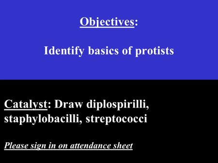 Objectives: Identify basics of protists Catalyst: Draw diplospirilli, staphylobacilli, streptococci Please sign in on attendance sheet.