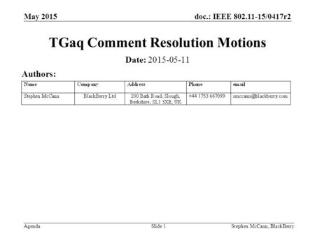 Doc.: IEEE 802.11-15/0417r2 Agenda May 2015 Stephen McCann, BlackBerrySlide 1 TGaq Comment Resolution Motions Date: 2015-05-11 Authors:
