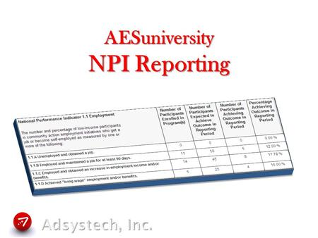 AESuniversity NPI Reporting.  Session Overview  Terms and Definitions  Where It Fits Within MIS  Setup Process  User Process  Questions & Answers.