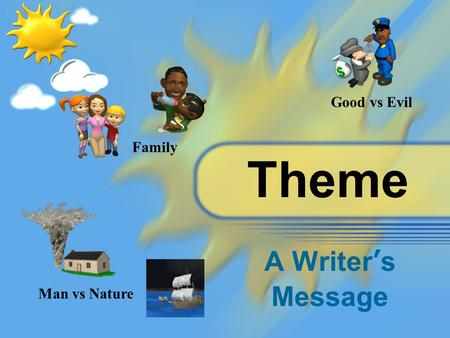 Theme A Writer's Message Man vs Nature Good vs Evil Family.