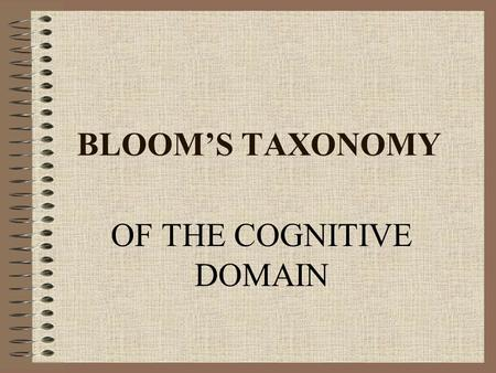 BLOOM'S TAXONOMY OF THE COGNITIVE DOMAIN. BLOOM'S TAXONOMY Benjamin Bloom (et al.) created this taxonomy for categorizing levels of abstraction of questions.